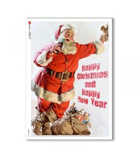 CHRISTMAS-0290. Carta di riso vittoriana Natale per decoupage.