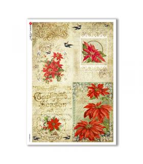 CHRISTMAS-0291. Carta di riso vittoriana Natale per decoupage.