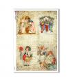 CHRISTMAS-0292. Carta di riso vittoriana Natale per decoupage.