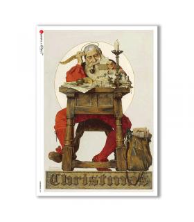CHRISTMAS-0298. Carta di riso vittoriana Natale per decoupage.