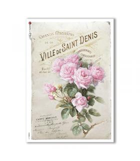 FLOWERS-0315. Papel de Arroz victoriano flores para decoupage.