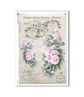 FLOWERS-0316. Carta di riso vittoriana fiori per decoupage.