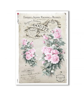 FLOWERS-0316. Papel de Arroz victoriano flores para decoupage.