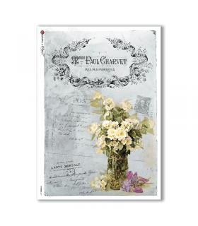 FLOWERS-0317. Papel de Arroz victoriano flores para decoupage.