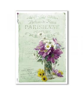 FLOWERS-0318. Carta di riso vittoriana fiori per decoupage.