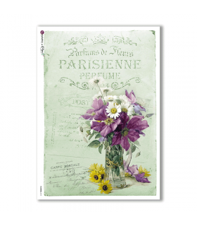 FLOWERS-0318. Papel de Arroz victoriano flores para decoupage.
