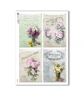 FLOWERS-0319. Papel de Arroz victoriano flores para decoupage.
