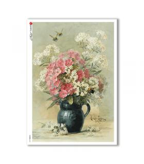 FLOWERS-0320. Carta di riso vittoriana fiori per decoupage.