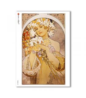 NOUVEAU-0009. Art nouveau Rice Paper for decoupage.
