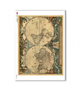 OLD-MAPS-0032. Carta di riso mappe antiche per decoupage.