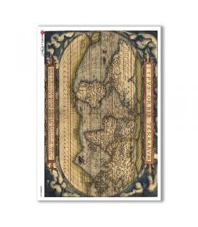 OLD-MAPS-0033. Carta di riso mappe antiche per decoupage.
