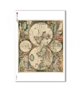 OLD-MAPS-0034. Carta di riso mappe antiche per decoupage.