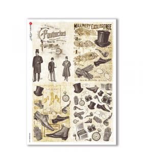 OLD OBJECTS-0008. Carta di riso oggetti vintage per decoupage.