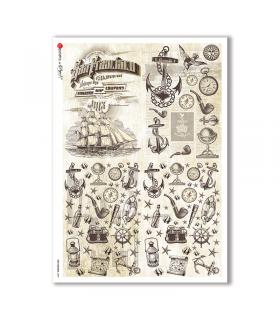 OLD OBJECTS-0009. Carta di riso oggetti vintage per decoupage.