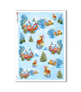 CHRISTMAS-0134. Carta di riso Natale per decoupage.