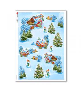 CHRISTMAS-0135. Carta di riso Natale per decoupage.