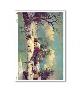 VIEWS-0143. Carta di Riso paesaggi per decoupage