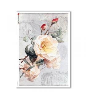 FLOWERS-0322. Papel de Arroz victoriano flores para decoupage.