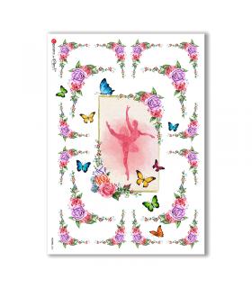 FLOWERS-0306. Carta di riso vittoriana fiori per decoupage.