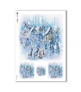 CHRISTMAS-0140. Carta di riso Natale per decoupage.