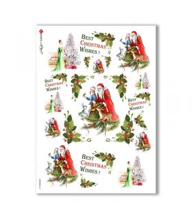 CHRISTMAS-0141. Carta di riso Nataleper decoupage.