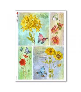 FLOWERS-0323. Carta di riso vittoriana fiori per decoupage.