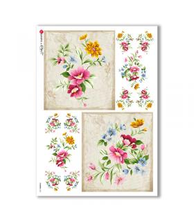 FLOWERS-0324. Carta di riso fiori per decoupage.