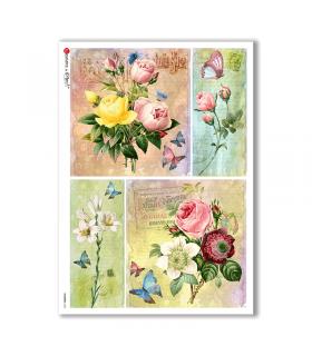 FLOWERS-0325. Carta di riso vittoriana fiori per decoupage.
