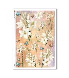 FLOWERS-0326. Papel de Arroz victoriano flores para decoupage.