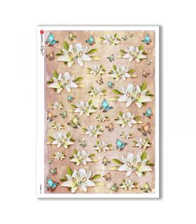 FLOWERS-0328. Papel de Arroz victoriano flores para decoupage.