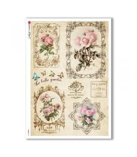 FLOWERS-0329. Carta di riso vittoriana fiori per decoupage.