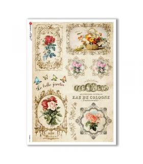 FLOWERS-0330. Carta di riso vittoriana fiori per decoupage.