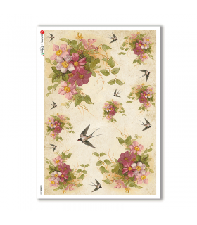 FLOWERS-0331. Carta di riso vittoriana fiori per decoupage.