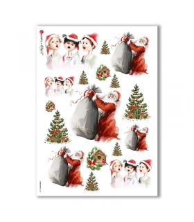 CHRISTMAS-0144. Carta di riso Natale per decoupage.