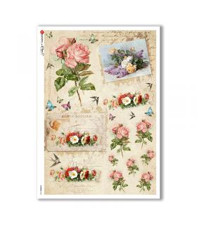 FLOWERS-0332. Papel de Arroz victoriano flores para decoupage.