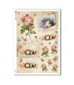 FLOWERS_0332. Carta di riso vittoriana fiori per decoupage.