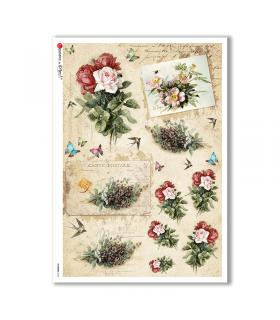 FLOWERS-0334. Carta di riso vittoriana fiori per decoupage.