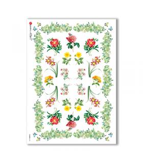 FLOWERS-0335. Papel de Arroz flores para decoupage.