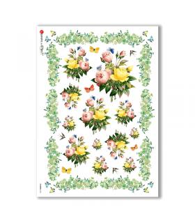 FLOWERS-0336. Papel de Arroz victoriano flores para decoupage.