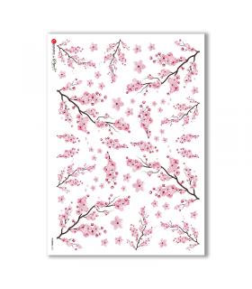 FLOWERS-0337. Carta di riso fiori per decoupage.