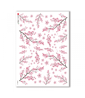 FLOWERS-0337. Papel de Arroz flores para decoupage.