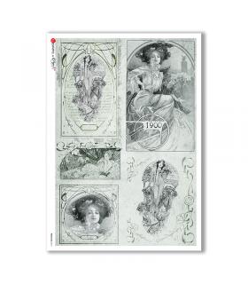 NOUVEAU-0013. Carta di riso art nouveau per decoupage.