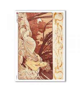 NOUVEAU-0014. Papel de Arroz art nouveau para decoupage.