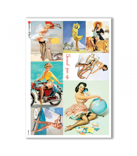 PINUP-0023. Pin-Up Rice Paper for decoupage.