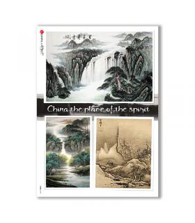 VIEWS-0148. Carta di Riso paesaggi per decoupage