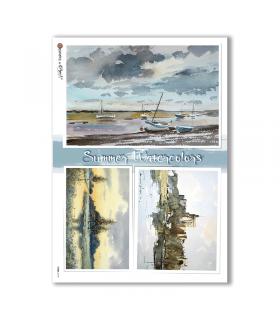 VIEWS-0149. Carta di Riso paesaggi per decoupage