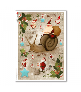 CHRISTMAS-0154. Carta di riso Natale per decoupage.