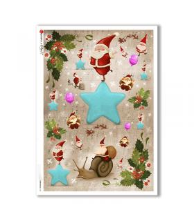 CHRISTMAS-0155. Carta di riso Natale per decoupage.