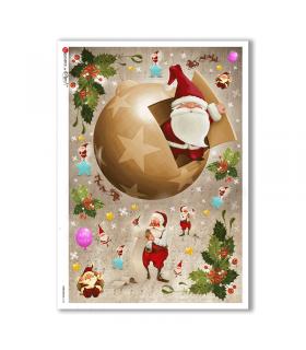 CHRISTMAS-0156. Carta di riso Natale per decoupage.