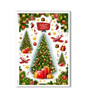 CHRISTMAS-0158. Carta di riso Natale per decoupage.